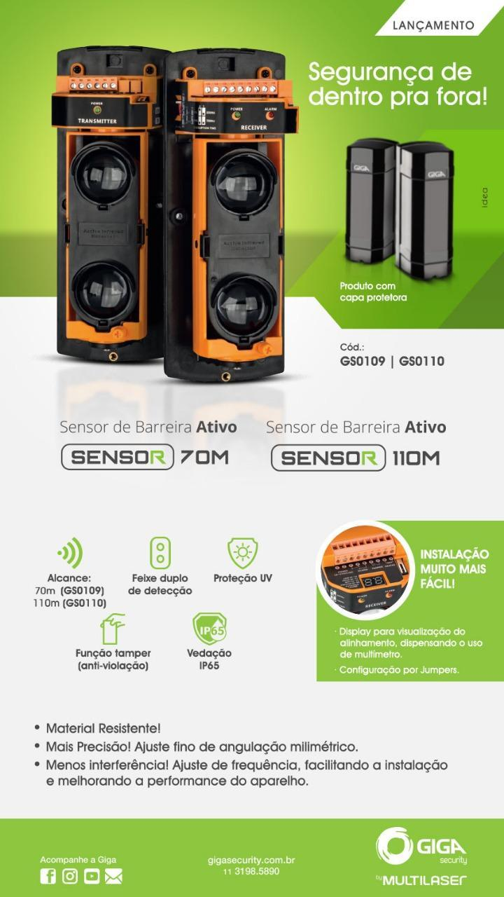 Sensor Ativo Barreira Duplo Feixe Alcance 110 Metros GS0110