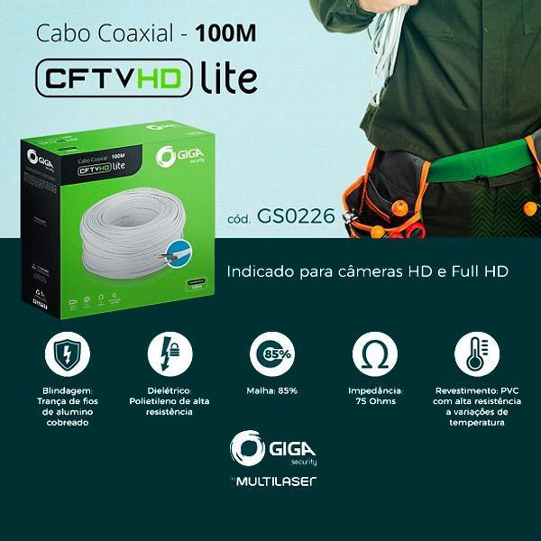 GIGA Cabo Coaxial 4mm com Bipolar  CFTV HD Lite – GS0226