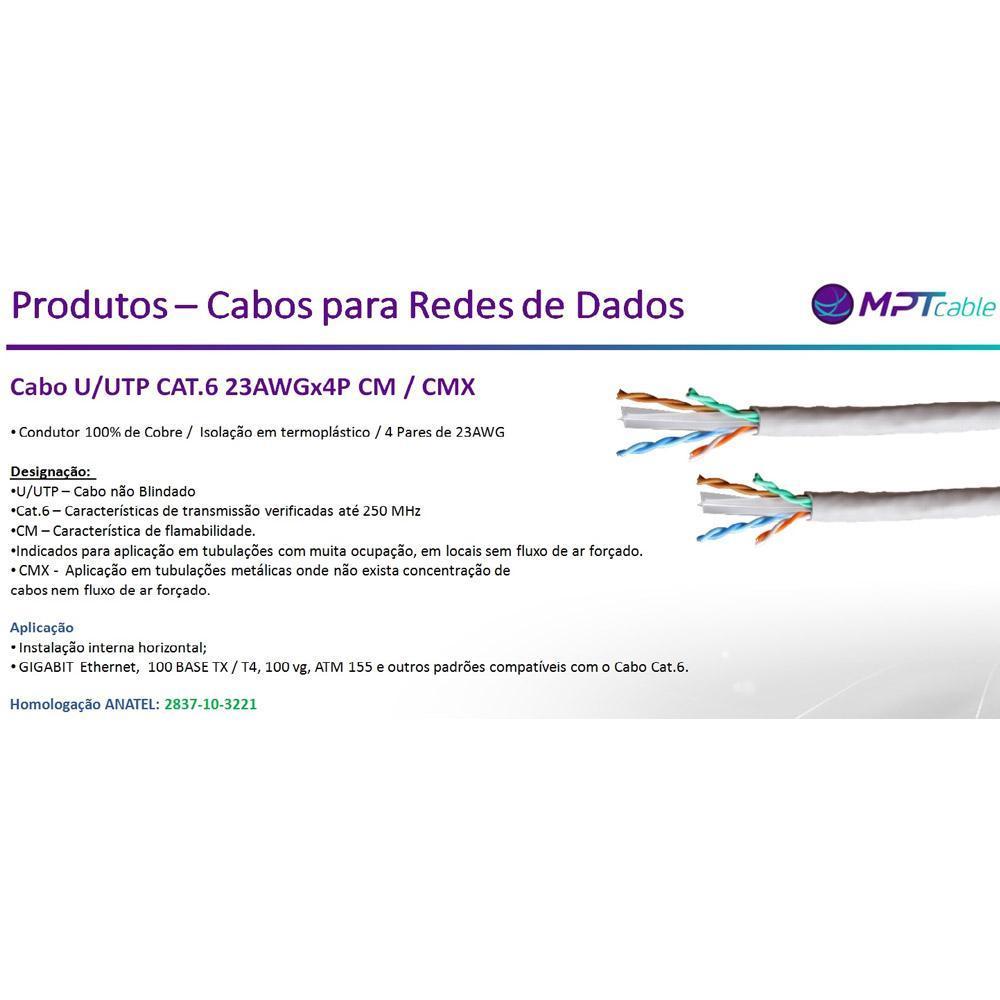 Cabo U/UTP CAT.6e CMX 23awgx4p – MPT
