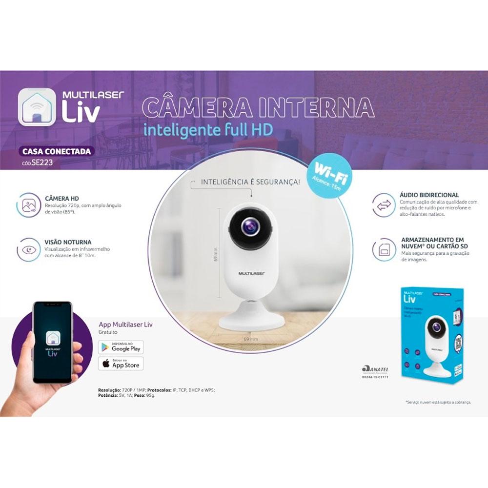 Câmera Interna Intelig Full HD Wi-Fi Multilaser Liv SE223